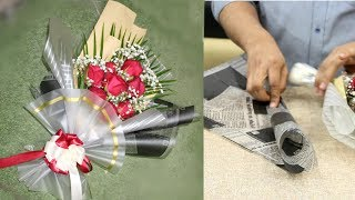 flower gift wrapping || How to wrapping flower bouquet and wrapping techniques