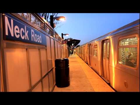 BMT Subway: R68A (B) Express and R160 (Q) Local at Neck Road