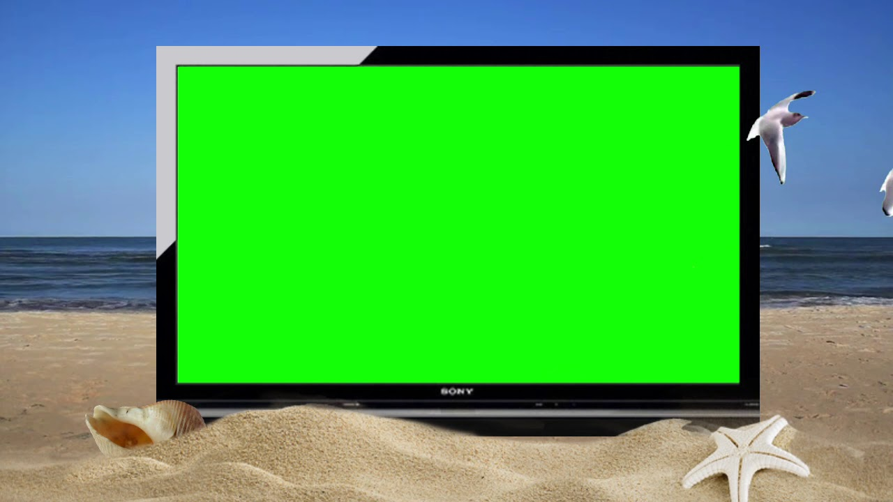 Green Screen Plasma TV On A Beach