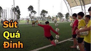 Thử Thách Bóng Đá thi sút phạt xoáy như Quang Hải với các cầu thủ nhí của học viện PVF & Đỗ Kim Phúc