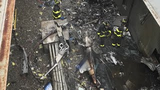 Aerials show rooftop view of NY copter crash