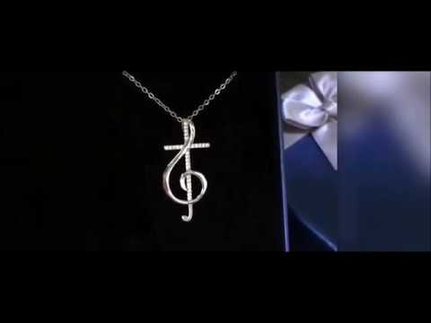 Beautiful Christian Jewelry, Sterling Silver Treble Clef Cross Necklace