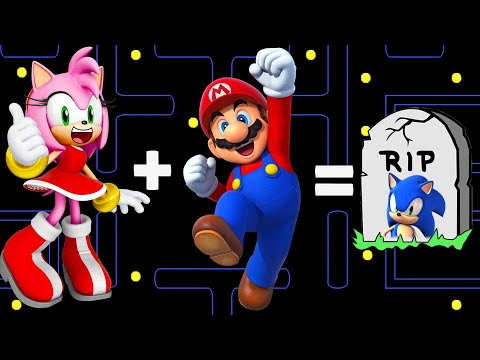 Oh no!!! Mario and Amy Rose Marry (Mario + Amy =?)| Pacman Stop Motion Game |