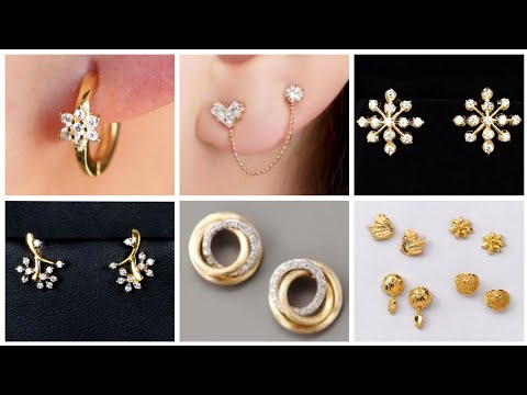 Sleek And Stylish Minimalist Gold Stud Earrings Designs - Light Weight Gold Stud