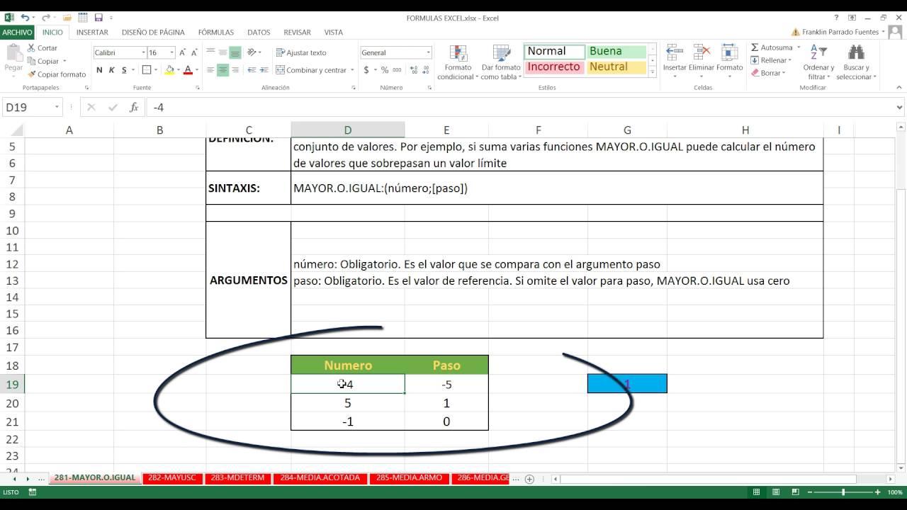 Función MAYOR.O.IGUAL Excel 20 20 de 20 HD