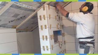 Tile Laying Wall Shower Bathroom Tips & Tricks Miter corners sanding