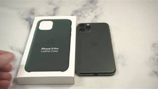 Gambar cover Official Apple Leather Case  for iPhone 11 Pro Forest Green Unboxing and Review