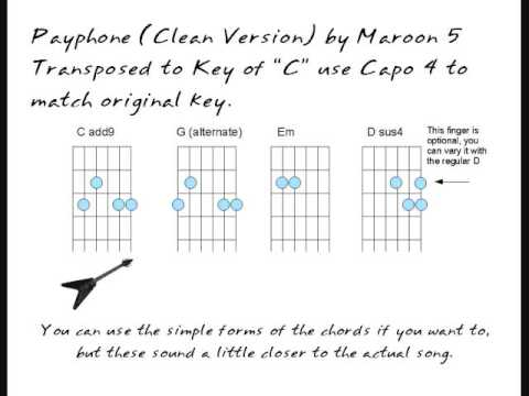 Maroon 5- PAYPHONE no capo, easy chord play along version - YouTube