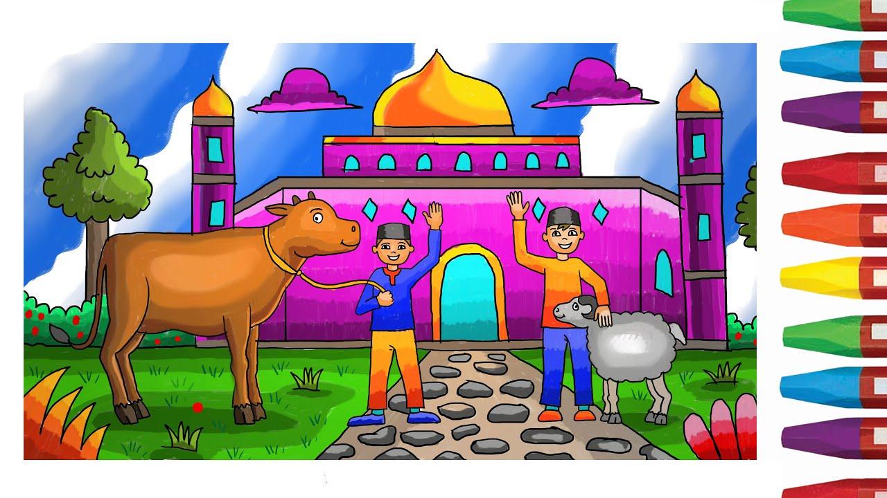 Cara Menggambar Tema Hari Raya Idul Adha Dengan Gradasi Warna Idul Kurban Youtube