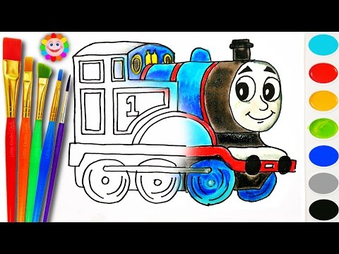 Coloring with Thomas and Fiends How to Draw Thomas the Tank Engine Learning Coloring Page