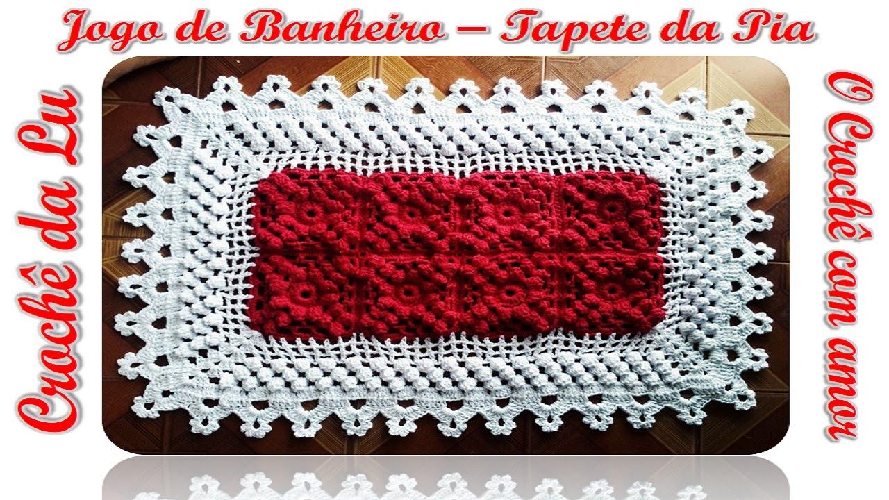 Tapete da Pia  Jogo de Banheiro em Crochê, com Ponto Pipoca  YouTube -> Jogo Pia De Banheiro