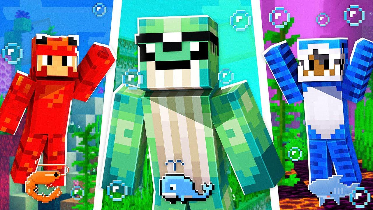 Minecraft MAS temos RAÇAS AQUÁTICAS! #19 🦐🐳🦈
