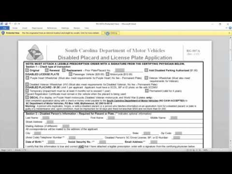 How to Apply for a Disabled Placard in South Carolina - YouTube