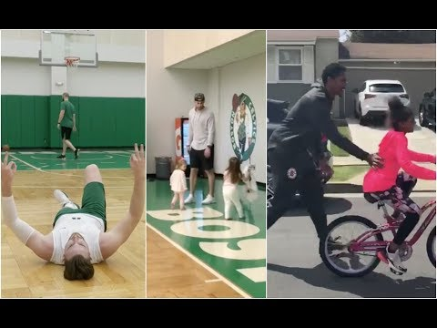 Gordon Hayward playing with his girls after practice, Lou Williams teaches his girl to ride the bike
