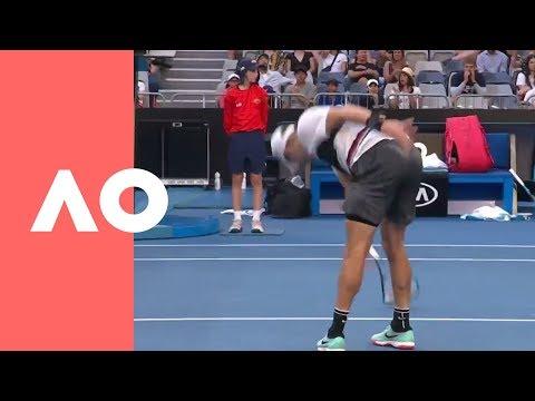 Coric's Huge Racquet Smash V Pouille (4R) | Australian Open 2019
