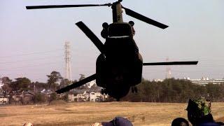 チヌーク(CH-47JA)車両支援.