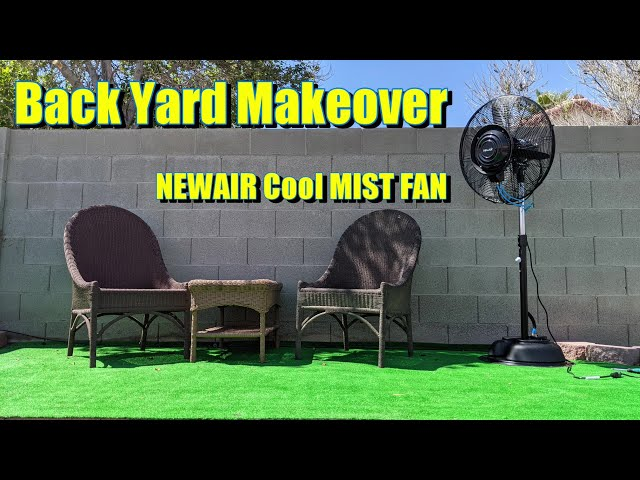 Amazing Backyard Transformation on the budget - NewAir pedestal misting fan Review