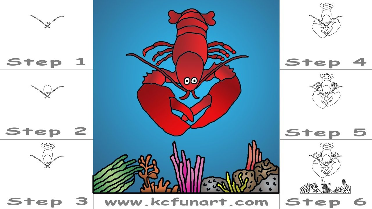 178 How To Draw A Cartoon Lobster