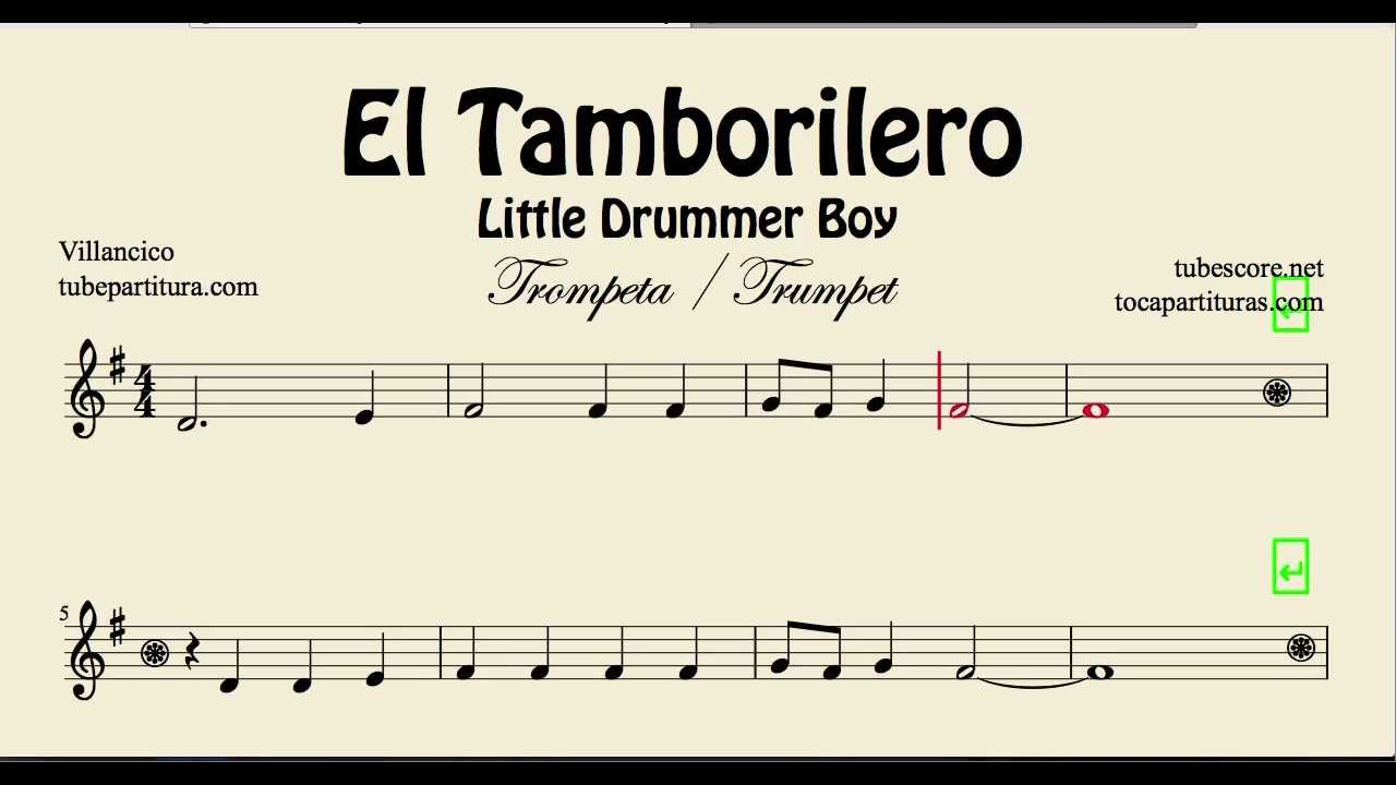 The Little Drummer Boy Sheet Music for Trumpet El Tamborilero ...