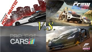Need For Speed Most Wanted 2012 vs The Crew vs Project Cars vs Forza Horizon 3 Gameplay Max Settings
