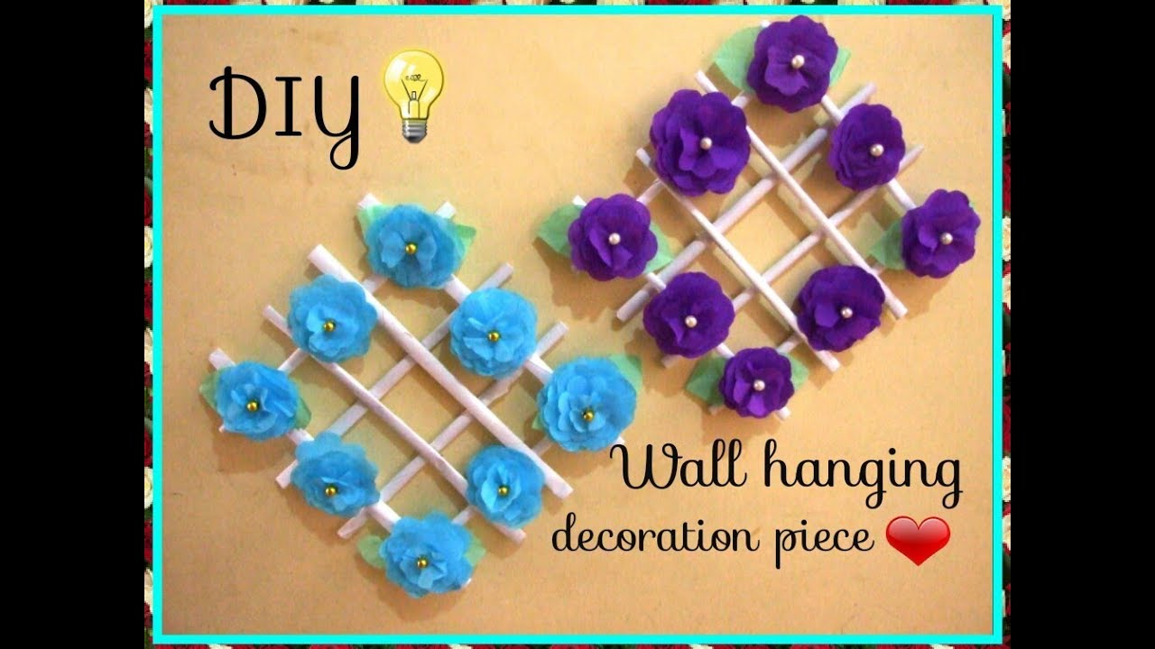 DIY Wall decor idea /How to make Crepe paper flower Wall hanging decoration  piece/DIY Craft Queen