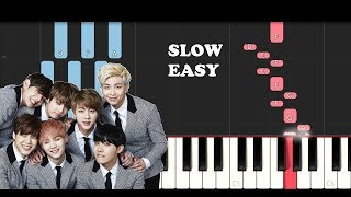 BTS - Fake Love (SLOW EASY PIANO TUTORIAL)