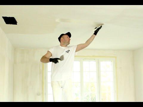 enduire un plafond apr s la pose de toile 3 3 op ration ultime youtube. Black Bedroom Furniture Sets. Home Design Ideas