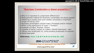 Business Combination or Assets acquisition- Ind-As 103/ IFRS 3