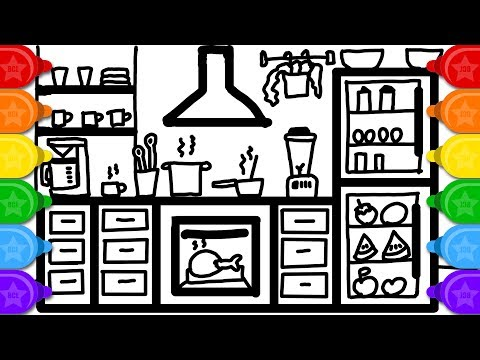 Colouring Busy Toy Kitchen | Learn how to Draw and Color for Kids