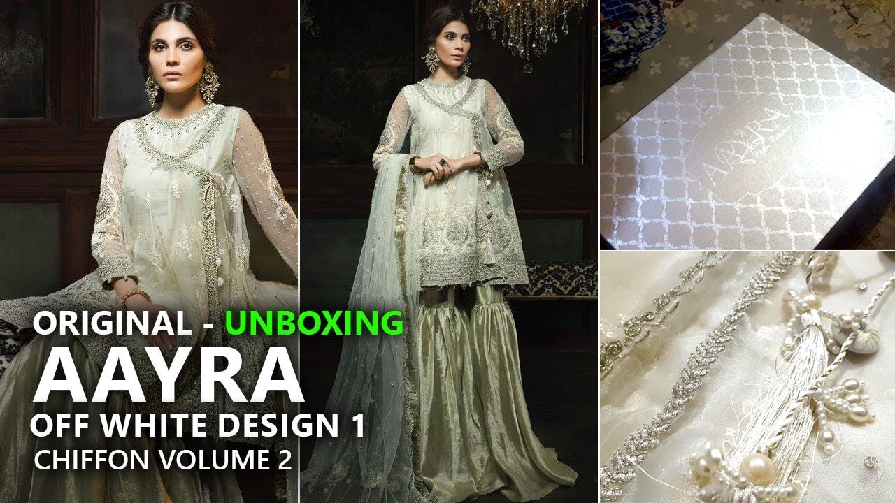 ee84b6ce03 Aayra Luxury Collection 2018 - Unboxing D1 Off White - Pakistani Branded  Clothes