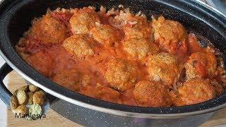 Тефтели на овощной подушке с рисом,идея обеда/Meatballs