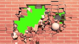 Green Screen Intro Brick Wall Explosion - Footage PixelBoom