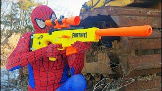 Sniper Spider Man Nerf War (Nerf Gun)