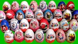 36 Kinder Surprise Eggs!!! Minecraft Barbie Frozen Smurfs Cars2 Disney Princess Minnie Mickey Huevos
