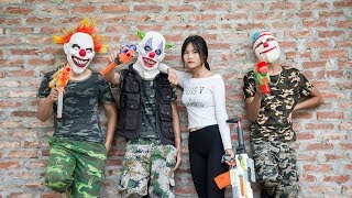 MASK Nerf War : Special Warrior Nerf Guns Fight Attack Criminal group Mask Danger