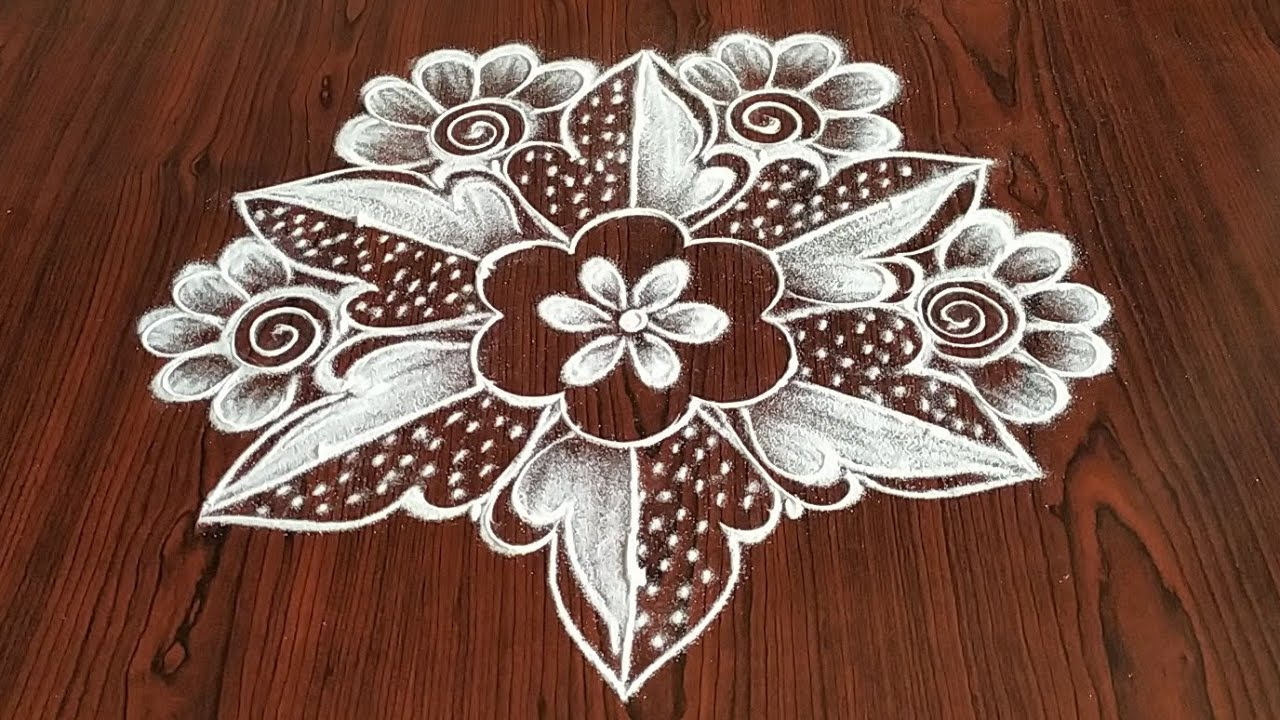 Simply easy Daily kolam only 5× 3 dot's..