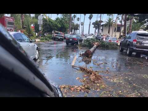 Santa Barbara microburst storm, debris flying trees 9/3/2017