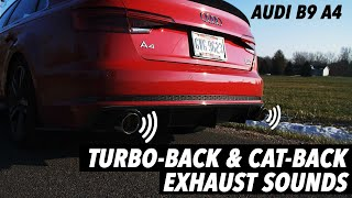the perfect exhaust notes audi b9 a4 turbo back cat back valved exhaust ecs tuning