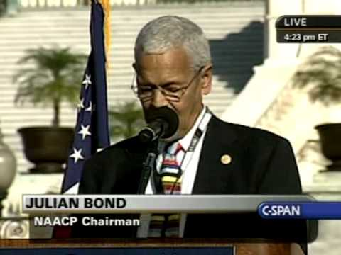 National Equality March Rally: Julian Bond (NAACP) speaks Pt.1