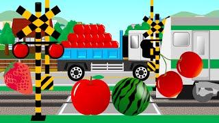 フルーツ踏切 | 子供向けアニメ | fruits crossing and train thumbnail