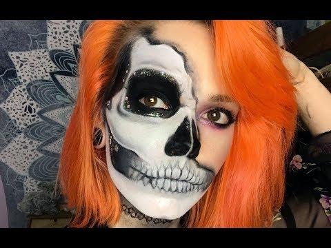 Glitter Skull Halloween Makeup Tutorial!