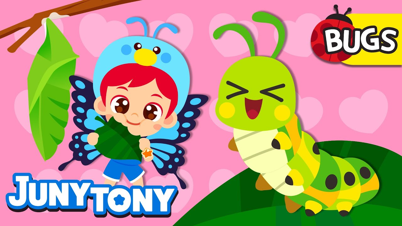 🐛Caterpillar to Butterfly🦋 | Cutie Crawlies! | Insect Songs for Kids | Bugs Song | JunyTony