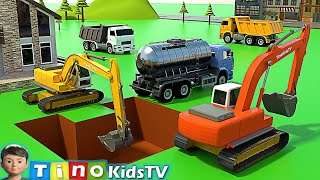 Excavator and Water Tank Truck for Kids | Swimming Pool Construction