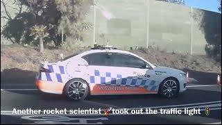 BAD DRIVING AUSTRALIA # 31 , Dummy's , hatchback sandwich , pole down , cops