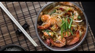 Stir Fried Butter Garlic Prawns with Soy Sauce