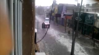 Temporal de lluvia y piedras en San Luis Capital