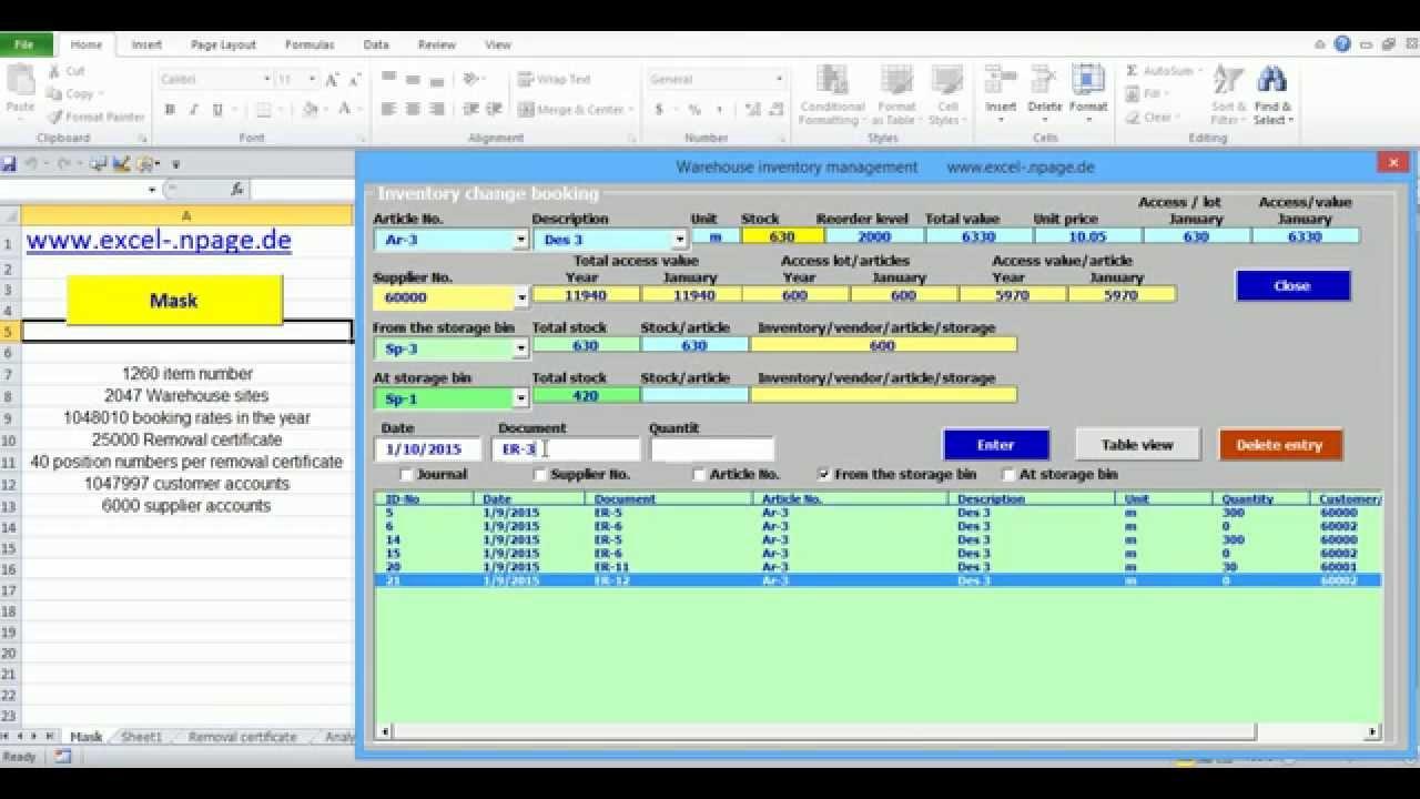 6 Warehouse Management Program Reposting Excel Vba