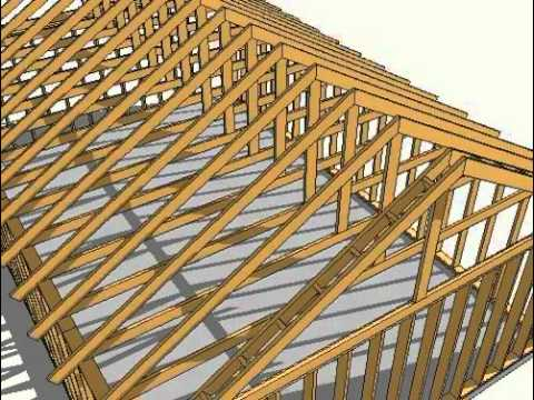 3d sketchup animation of wood framming youtube - Cerchas de madera ...