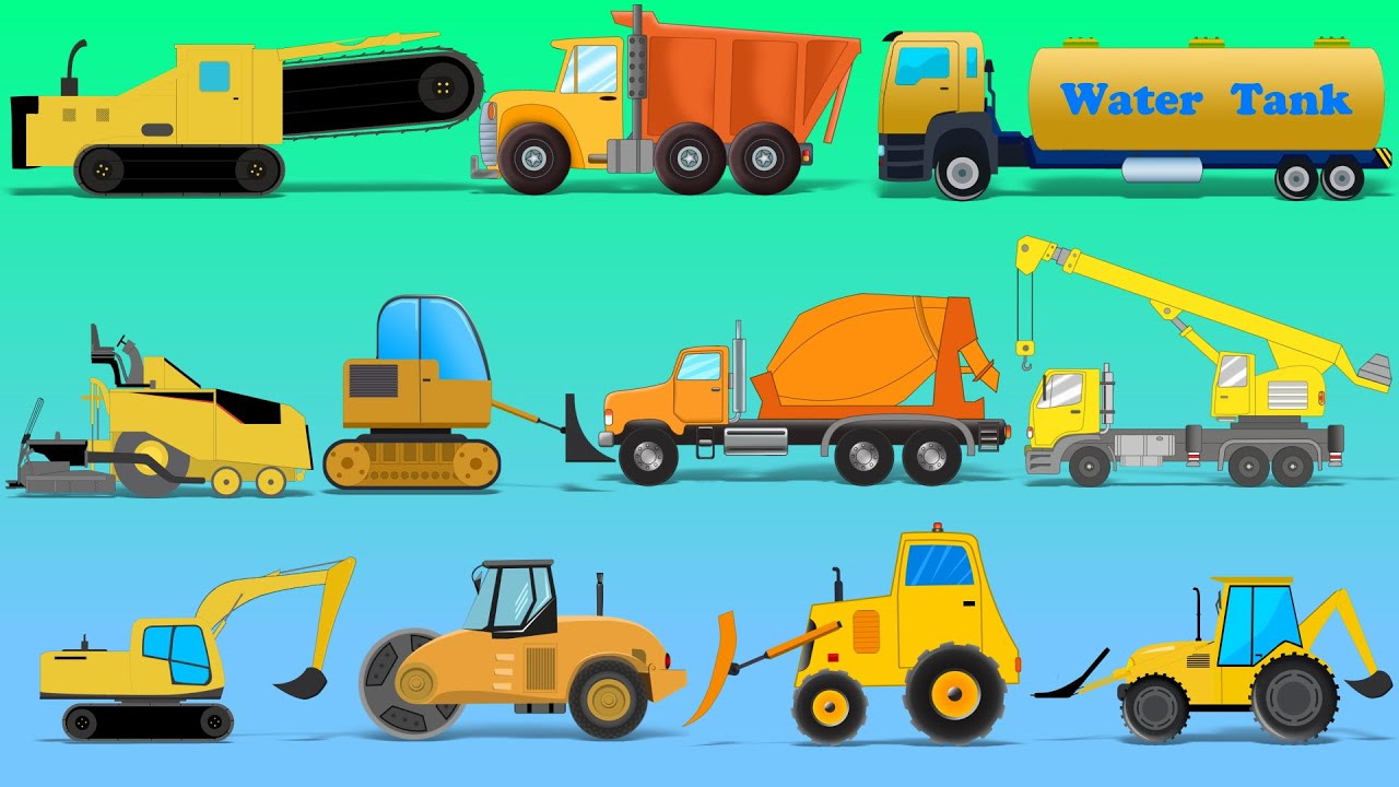 learn construction vehicles street vehicles trucks and heavy