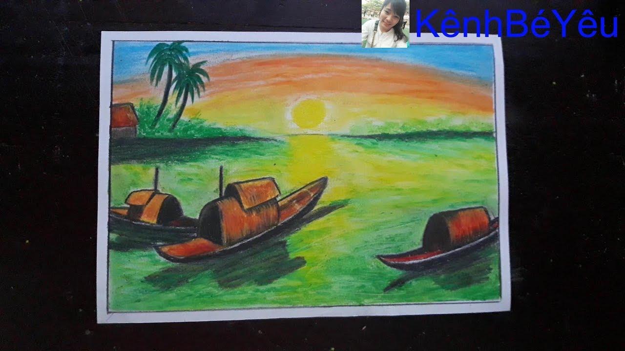 Vẽ cảnh biển êm ả ở làng quê – Draw the calm sea in the village.